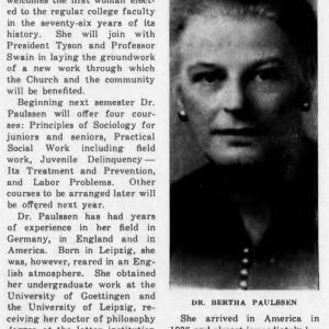 """Muhlenberg Weekly"" announcement of Dr. Paulssen's arrival, 1943"