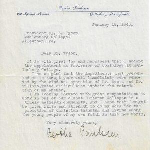 Dr. Paulssen's acceptance letter, 1943