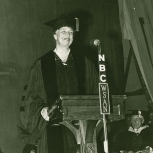 Eleanor Roosevelt makes a speech at Muhlenberg, 1942