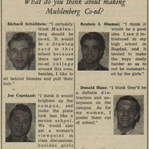 """Muhlenberg Weekly"" survey asking students about coeducation, July 1947"