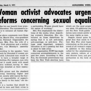 Muriel Fox came to campus to speak gender equilty, 1971