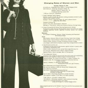"Schedule for Women's Task Force event ""Choice & Challenge for the College Graduate,"" 1975"