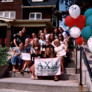 Group photo from Bid Day at Alpha Chi Omega, 2004