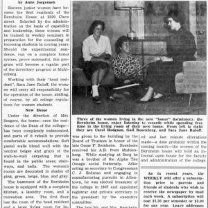 Muhlenberg Weekly article: Women move into the Bernheim House, 1959