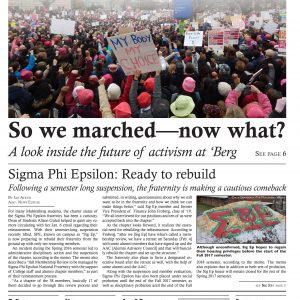 """Cover of the """"Muhlenberg Weekly"""" showing the Women's March on Washington, January 2017"""