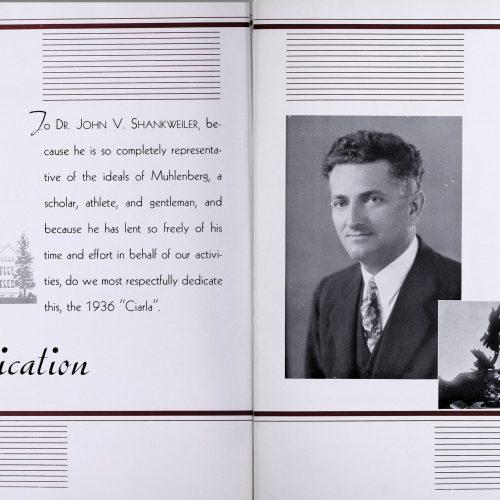 Ciarla dedication to Dr. Shankweiler, 1936