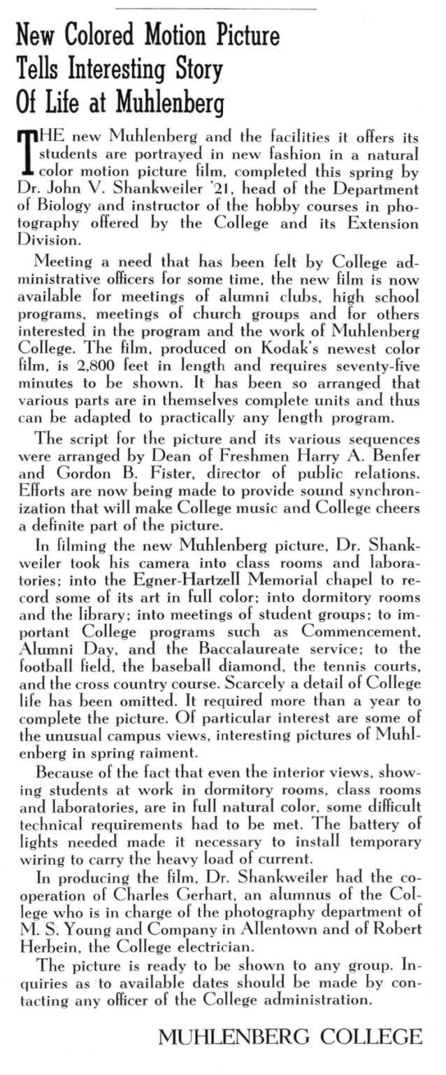 Alumni Mag(May 1940) Shankweiler film article
