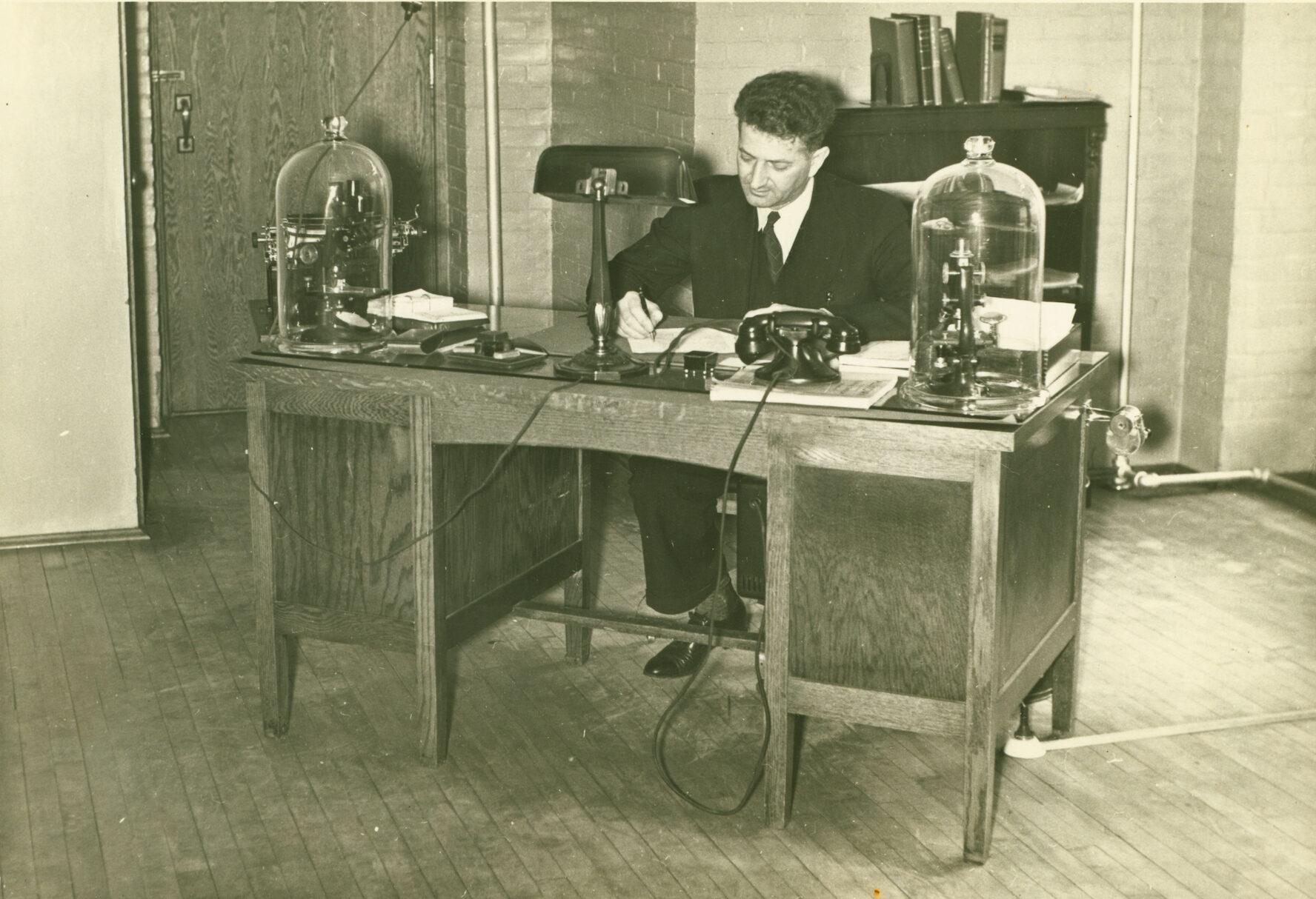 Dr. Shankweiler at his desk, circa 1930s