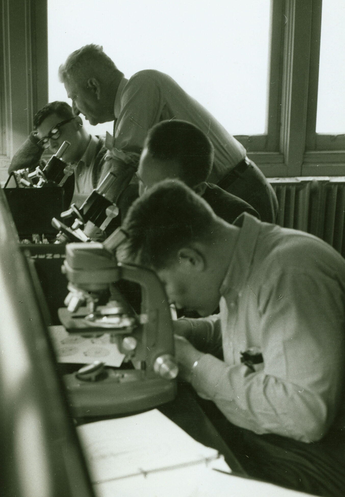 Dr. Shankweiler with students in a lab, circa 1960
