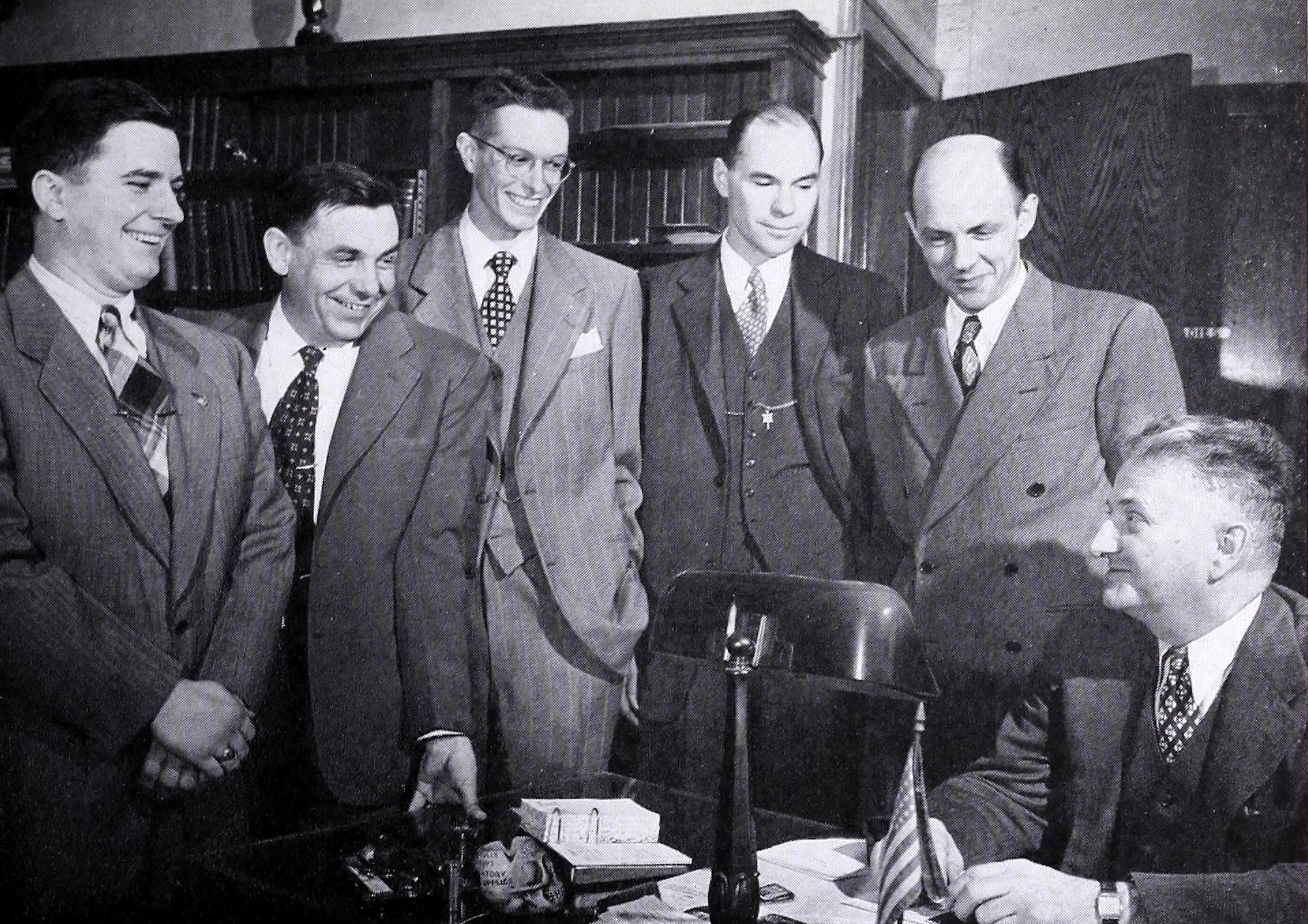 Dr. Shankweiler with colleagues from the Biology Department: Professors Dively,  Green, Romig, Applington, and Trainor, 1949
