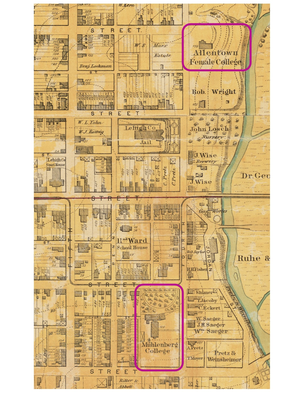Map of the Proximity of Muhlenberg College and Allentown Female College, 1870