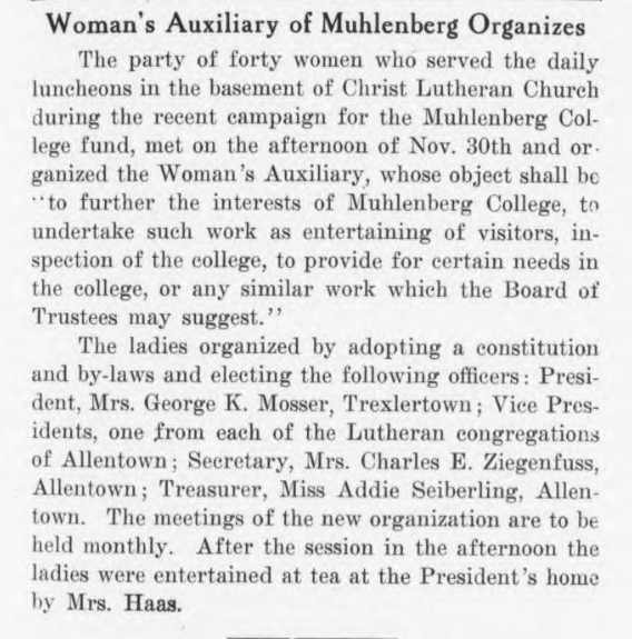 Women's Auxiliary Announcement, 1915