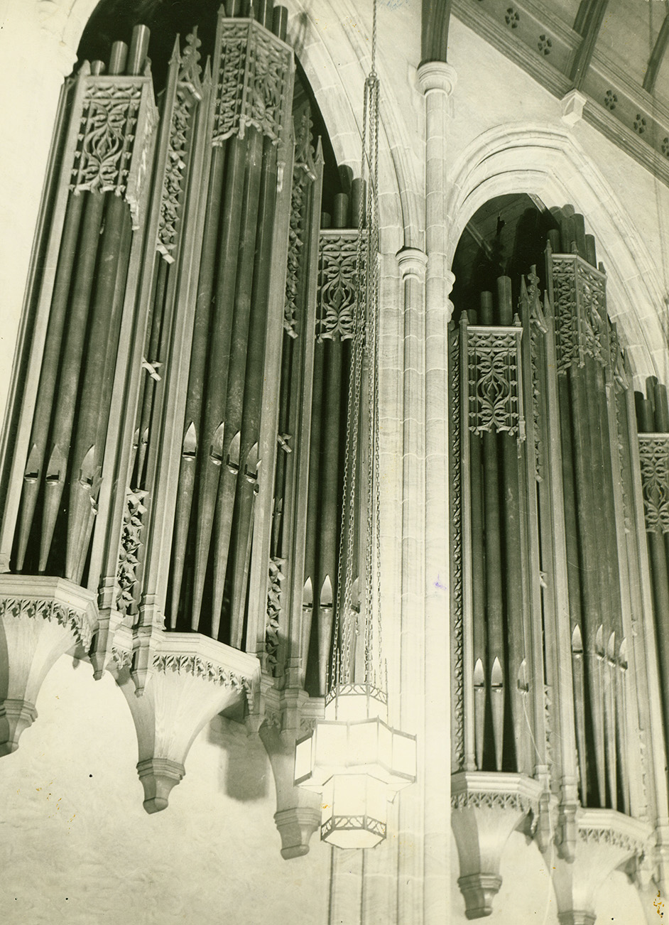 Pipes from the Skinner organ, circa 1940