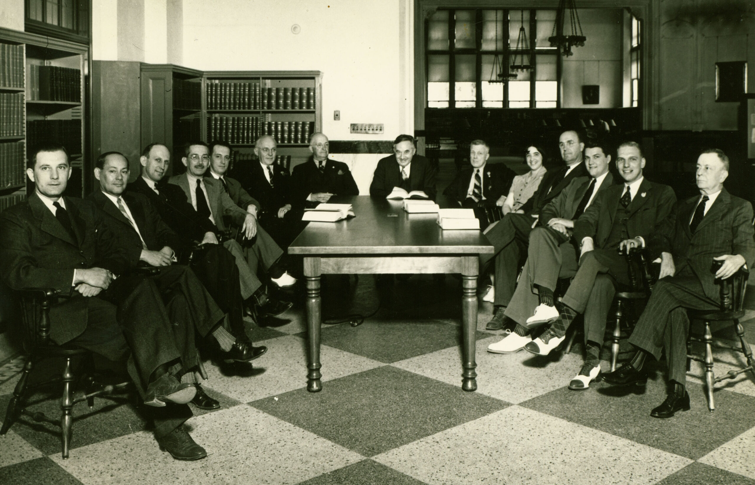 Mary Funk with male staff, circa 1940