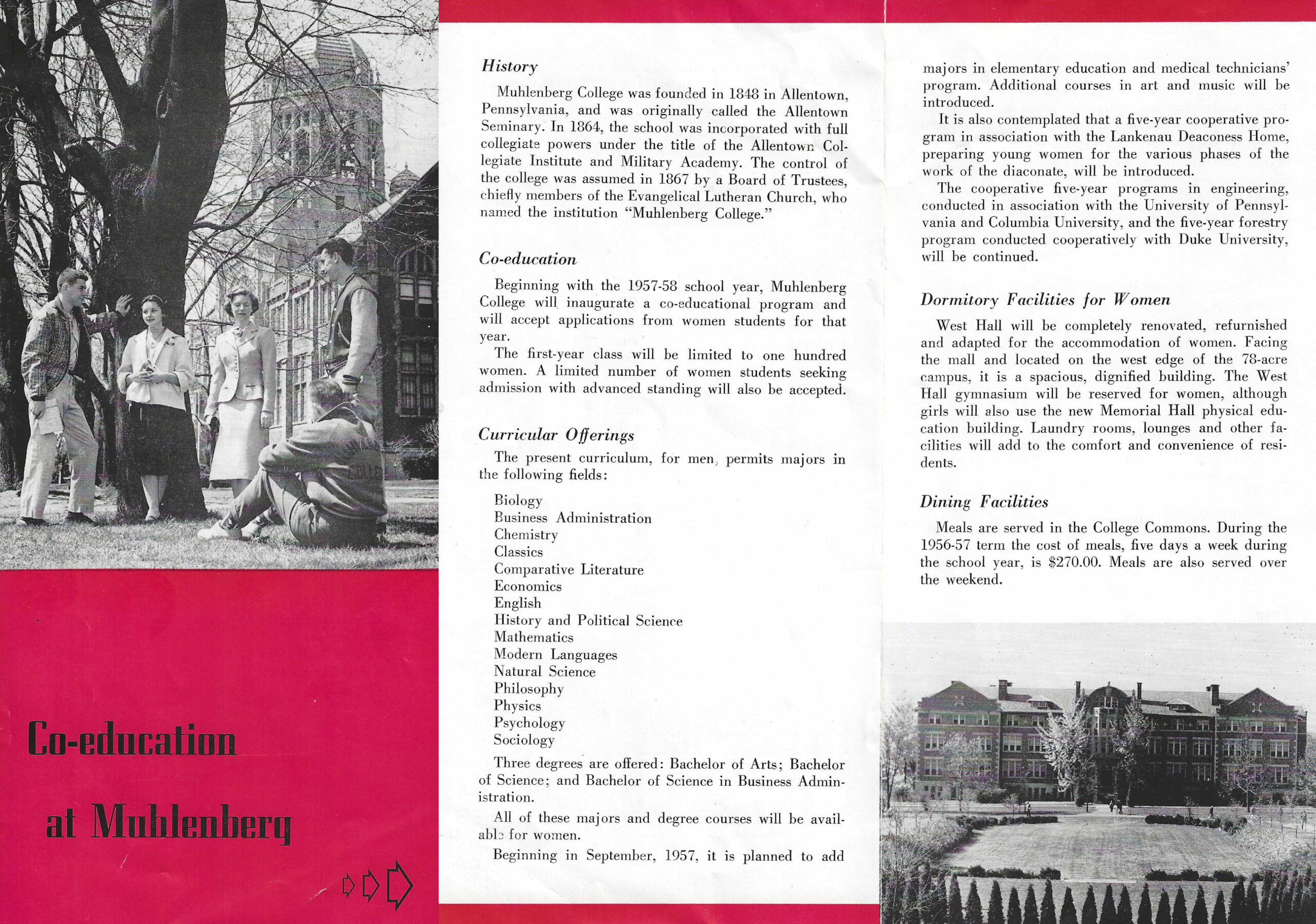 Brochure for prospective female students, ca. 1956