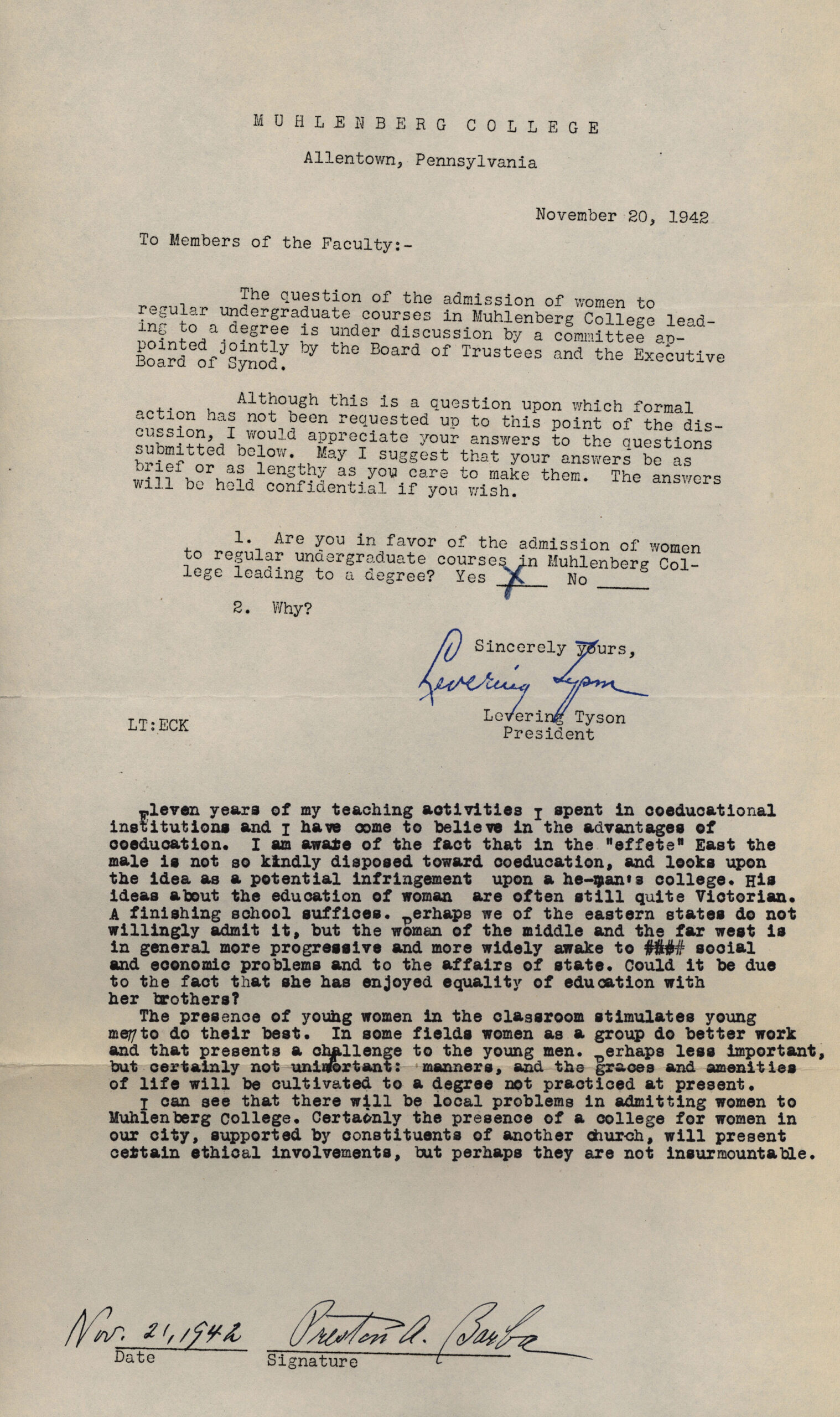 Dr. Preston Barba's reponse to faculty survey about the prospect of coeducation, 1942.