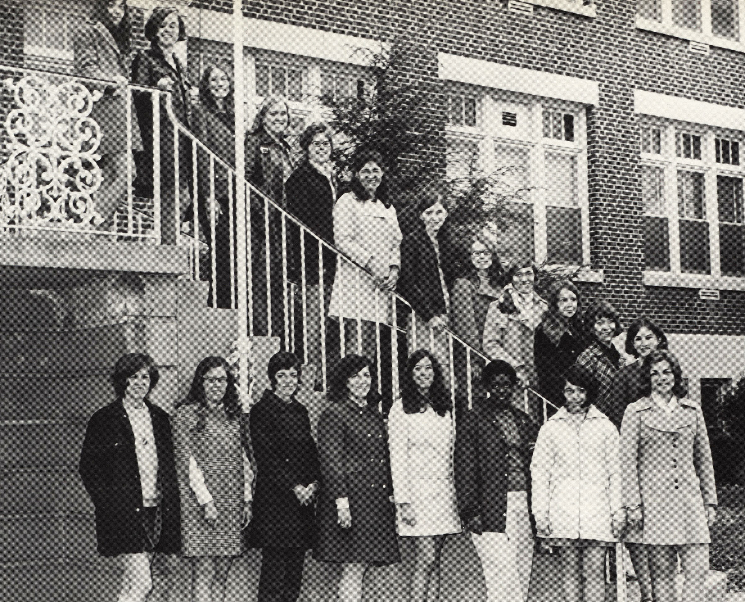 Members of the Women's Council on the Brown Hall steps, 1971.